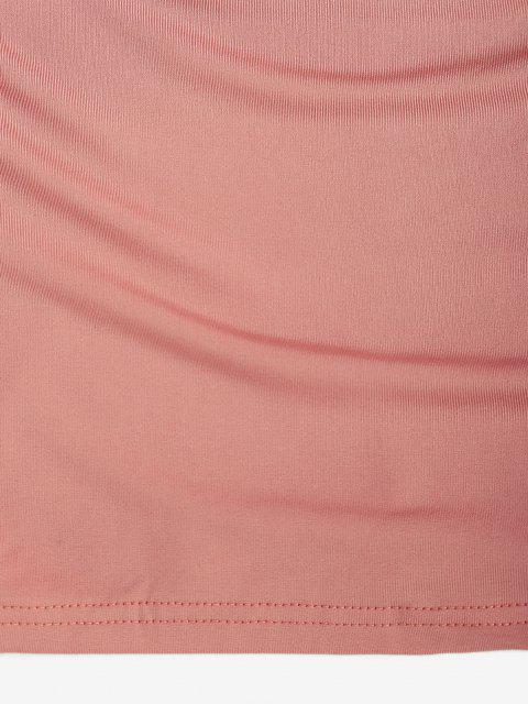 Robe Moulante Superposée Croisée Découpée à Doublure en Laine - Rose clair S Mobile