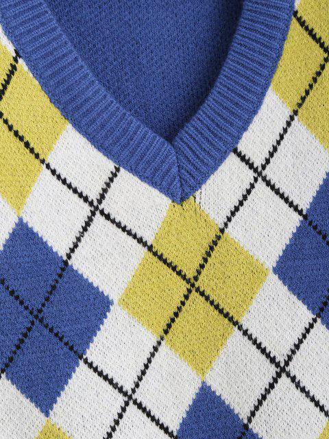 chic V Neck Argyle Front Sweater Vest - BLUE ONE SIZE Mobile