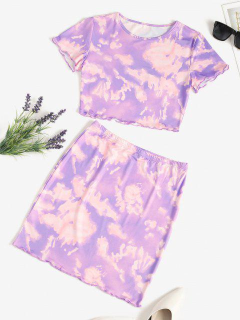 outfits Tie Dye Lettuce-trim Slinky Two Piece Dress - PURPLE S Mobile