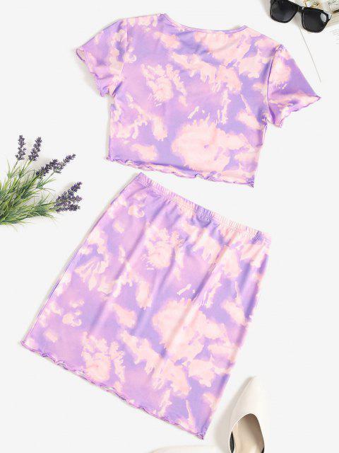 chic Tie Dye Lettuce-trim Slinky Two Piece Dress - PURPLE M Mobile