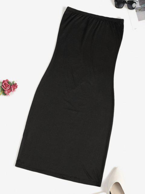 best Tube Bodycon Knee Length Club Dress - BLACK S Mobile