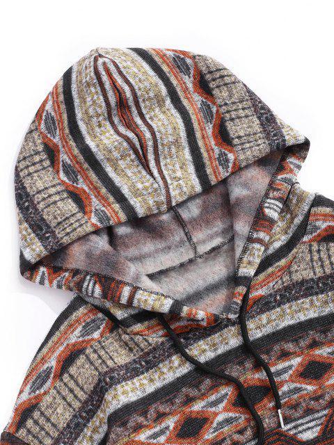 Tribal Geometrische Muster Knit Vlies Hoodie - Dunkel gelb S Mobile
