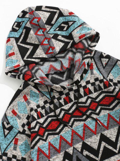Tribal Geometrische Muster Gestrickter Vlies Hoodie - Grau 2XL Mobile