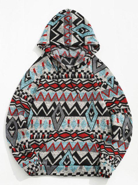 Moletom Tribal Geométrica Impressão de Lã - Cinzento 2XL Mobile