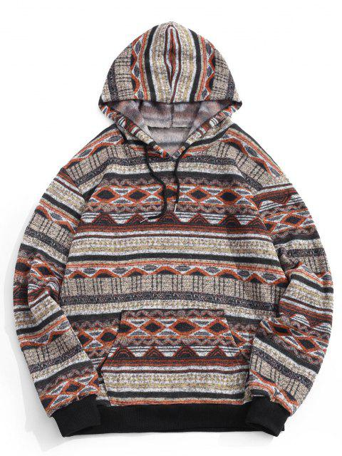sale Tribal Geometric Pattern Knit Fleece Hoodie - DEEP YELLOW 2XL Mobile