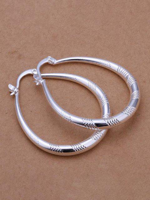womens Engraved Water Drop Hoop Earrings - SILVER  Mobile