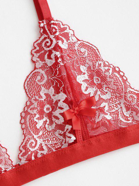 Dieses Kleid mit Spitzenbesatz und V Ausschnitt Akzentuiert das Trendige Leopardenmuster Set - Rot L Mobile