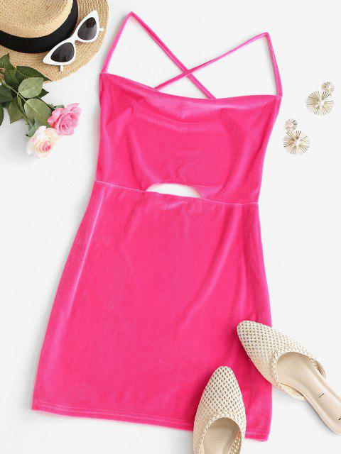 new Neon Crisscross Open Back Velvet Keyhole Slinky Dress - LIGHT PINK L Mobile