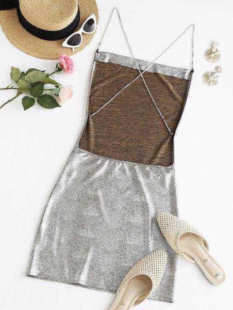shops Sparkly Disco Metallic Rhinestone Strap Backless Slinky Dress - LIGHT GRAY S Mobile
