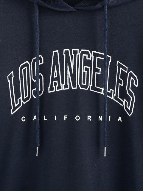 hot ZAFUL Drop Shoulder Los Angeles Graphic Longline Hoodie - DEEP BLUE M Mobile