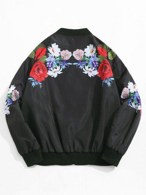 best Flower Pattern Zip Up Jacket - BLACK XL Mobile