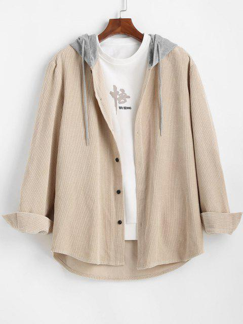 women Corduroy Colorblock Hooded Shirt - LIGHT COFFEE 2XL Mobile