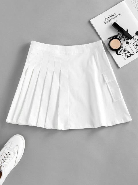 lady ZAFUL Pleated Pocket Mini Skirt - WHITE L Mobile