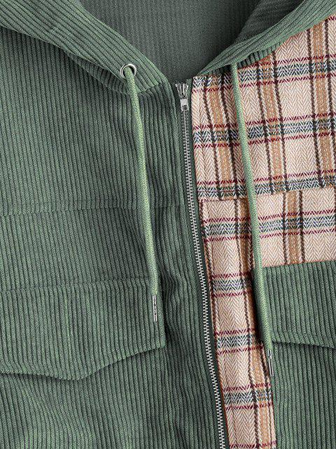 shops Hooded Plaid Panel Corduroy Jacket - SEA GREEN S Mobile