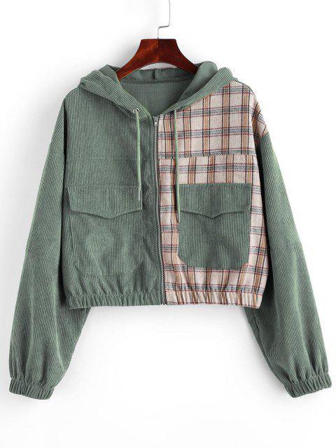 women Hooded Plaid Panel Corduroy Jacket - SEA GREEN L Mobile