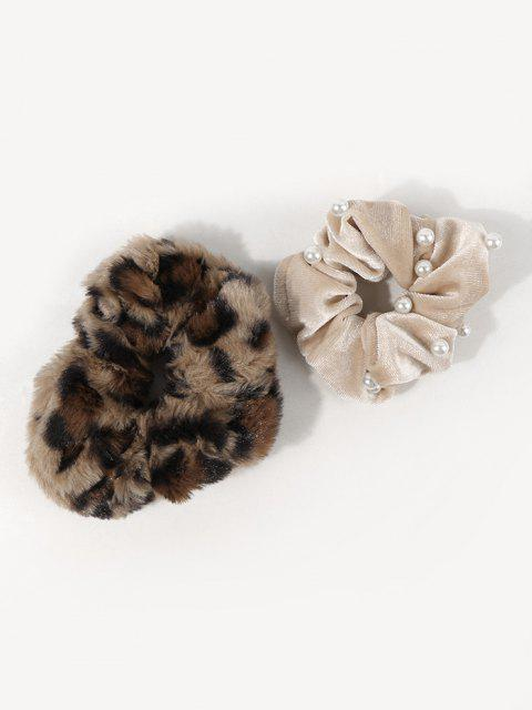 online 2Pcs Leopard Fluffy Faux Pearl Scrunchie Set - MULTI-A  Mobile