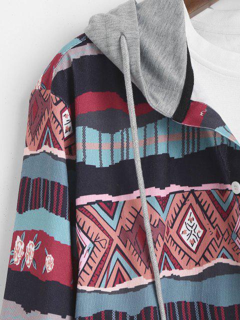 Chemise à Capuche Géométrique Tribale Imprimée en Blocs de Couleurs - Multi S Mobile