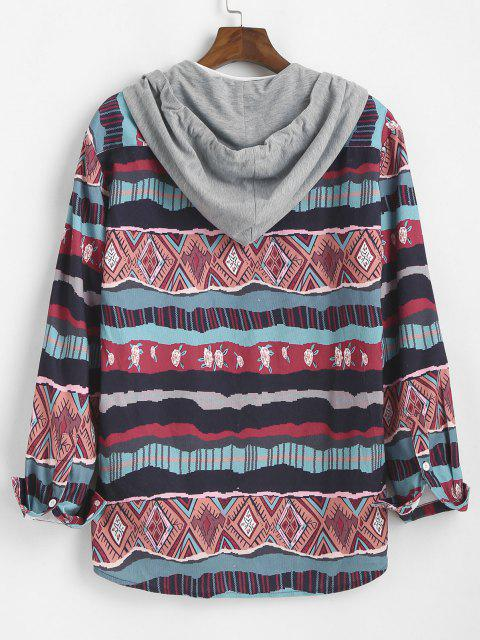 best Tribal Geometric Floral Print Colorblock Hooded Shirt - MULTI M Mobile
