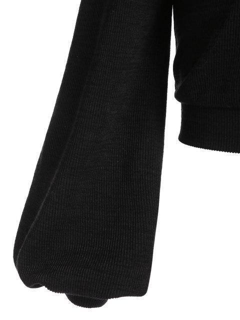 chic ZAFUL Lantern Sleeve Cropped Sweater - BLACK XL Mobile