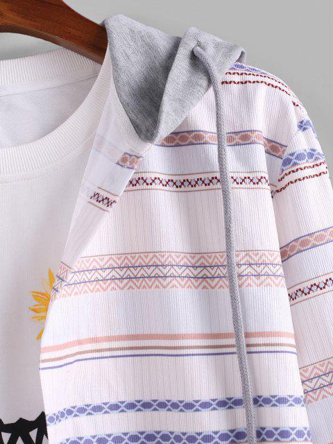 Chemise à Capuche Rayée Tribale en Blocs de Couleurs en Velours Côtelé - Blanc L Mobile