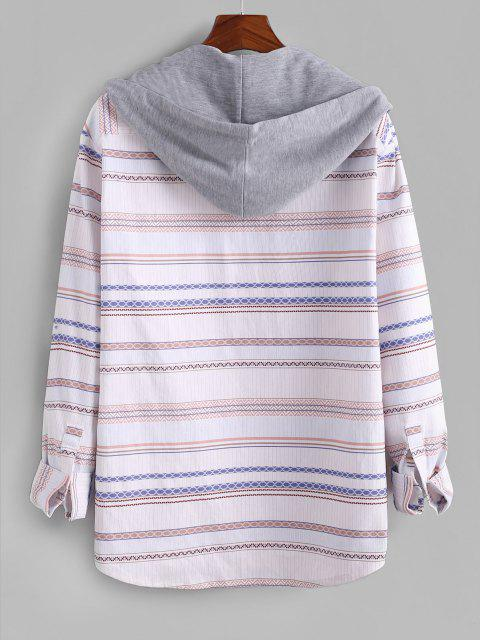 women's Tribal Striped Colorblock Hooded Corduroy Shirt - WHITE XL Mobile