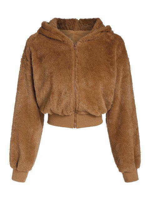 ZAFUL Hooded Fluffy Faux Fur Coat - النمر البرتقالي M Mobile