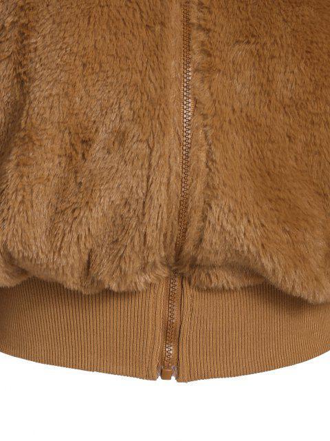 chic ZAFUL Hooded Fluffy Faux Fur Coat - TIGER ORANGE M Mobile
