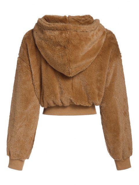 ZAFUL Manteau à Capuche Fourré en Fausse Fourrure - Orange Tigre L Mobile