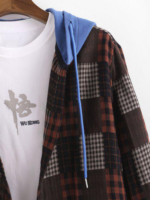 new Plaid Colorblock Hooded Shirt Jacket - MULTI 2XL Mobile