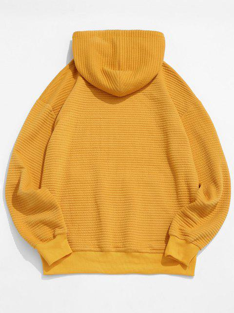 Drop Shoulder Solid Pullover Hoodie - اصفر غامق 2XL Mobile