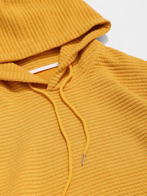 Einfarbiger Kapuze Hoodie mit Hängender Schulter - Dunkel gelb M Mobile