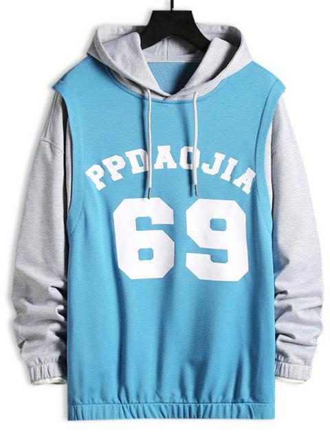 sale Letters Print Contrast Faux Twinset Hoodie - LIGHT GRAY L Mobile