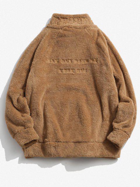 sale ZAFUL Letter Embroidered Quarter Zip Fluffy Sweatshirt - DEEP YELLOW 2XL Mobile