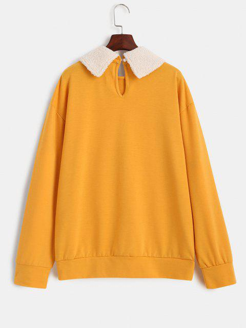 lady Leopard Glasses Graphic Contrast Peter Pan Collar Sweatshirt - YELLOW L Mobile