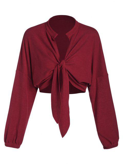 ladies ZAFUL Front Tie Drop Shoulder Cropped Cardigan - RED WINE M Mobile