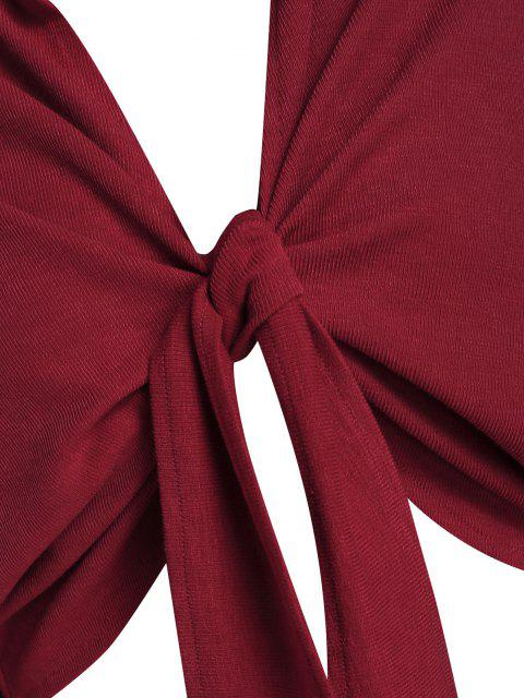 women ZAFUL Front Tie Drop Shoulder Cropped Cardigan - RED WINE XL Mobile