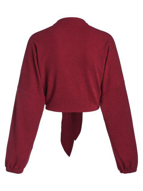 best ZAFUL Front Tie Drop Shoulder Cropped Cardigan - RED WINE S Mobile