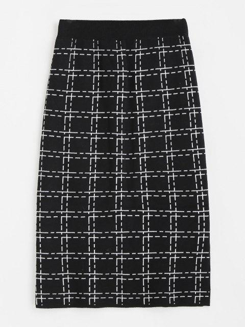 outfit Plaid Side Slit Knitted Skirt - BLACK ONE SIZE Mobile