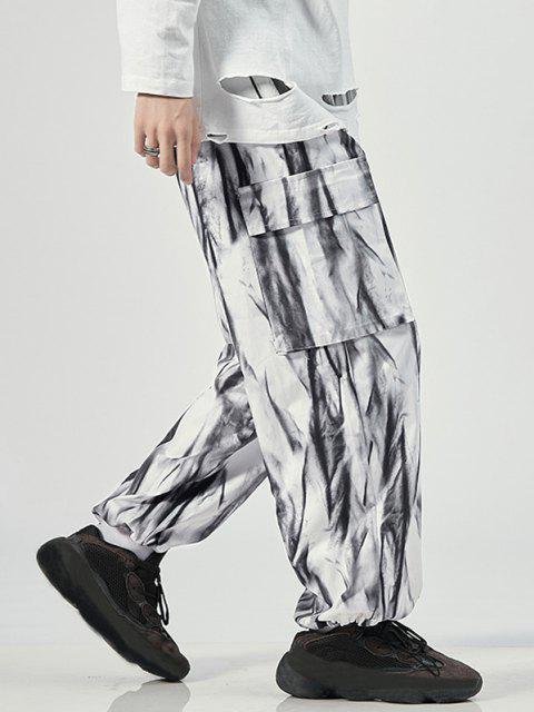 Pantalones de Tie Dye con Estampado - Blanco M Mobile