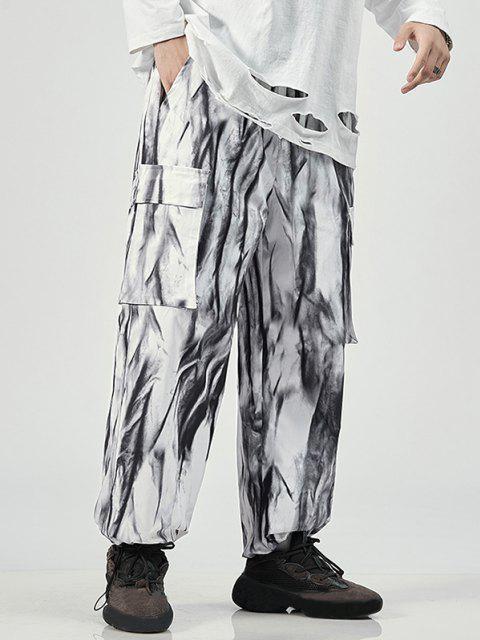 Pantalones de Tie Dye con Estampado - Blanco XL Mobile