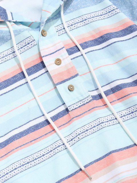 new Striped Pattern Half Button Corduroy Hoodie - MULTI S Mobile