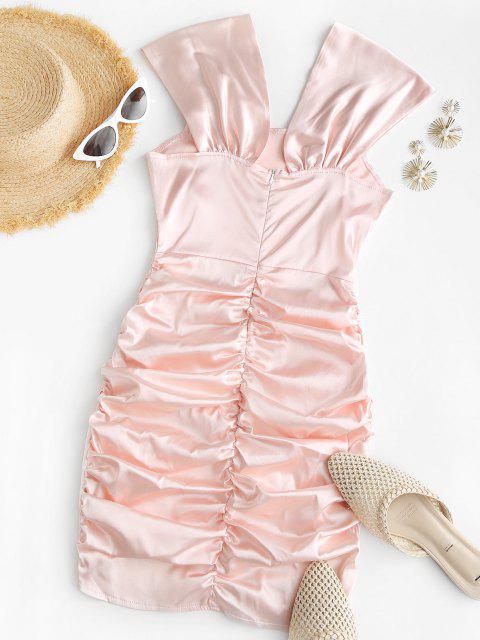 sale Off The Shoulder Ruched Slinky Satin Dress - LIGHT PINK S Mobile