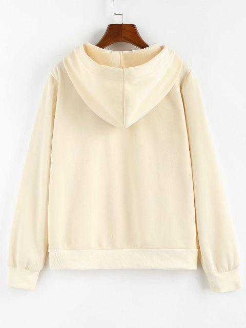 lady ZAFUL Letter Embroidered Kangaroo Pocket Hoodie - LIGHT YELLOW S Mobile