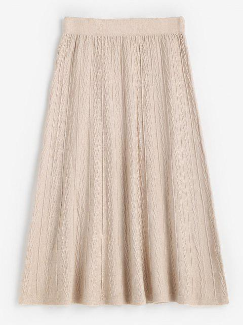 fashion High Waisted Textured Knitted Midi Skirt - WARM WHITE ONE SIZE Mobile