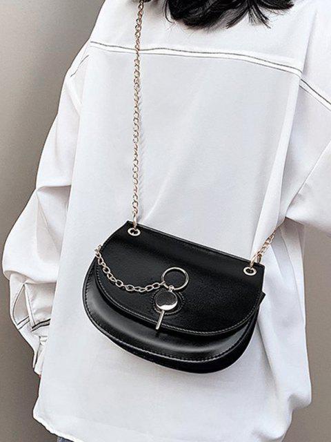 unique Chain Crossbody Saddle Bag - BLACK  Mobile