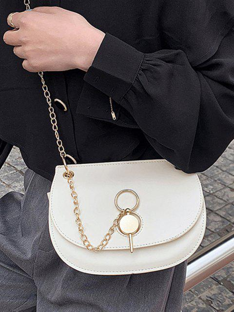 Chain Crossbody Saddle Bag - حليب ابيض  Mobile