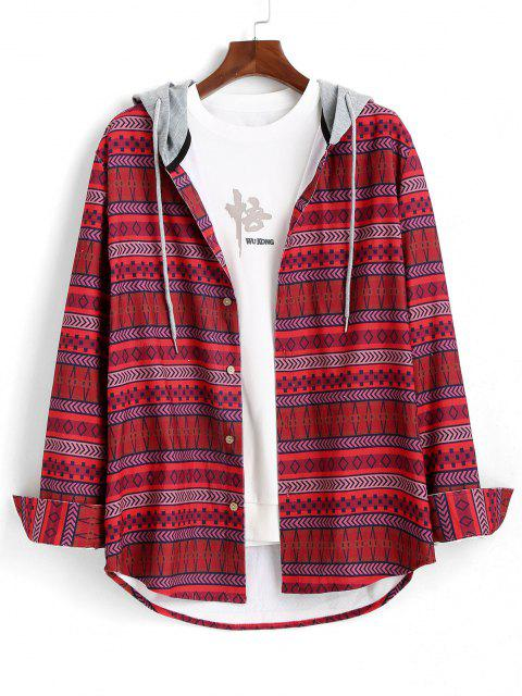 Tribal Geometric Pattern Colorblock Hooded Shirt - أحمر S Mobile