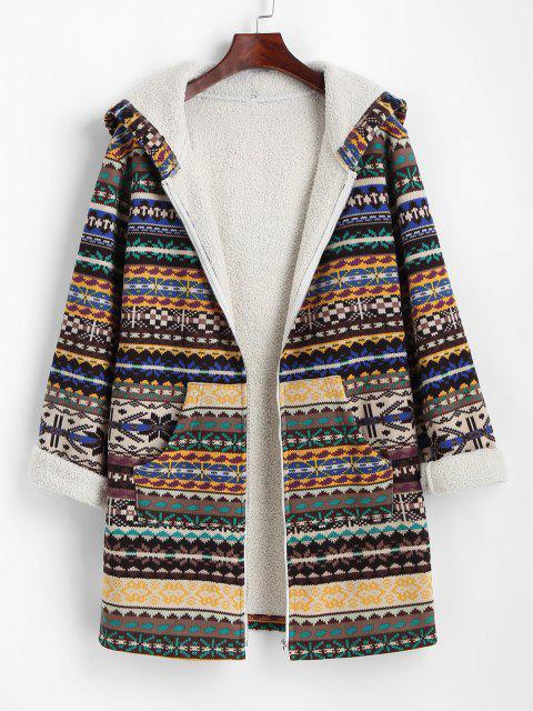 ZAFUL Tribal Print Zip Up Fleece Lined Coat - القهوة العميقة L Mobile
