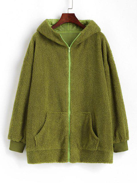 Oversize Zip Up Animal Teddy Coat - أخضر L Mobile
