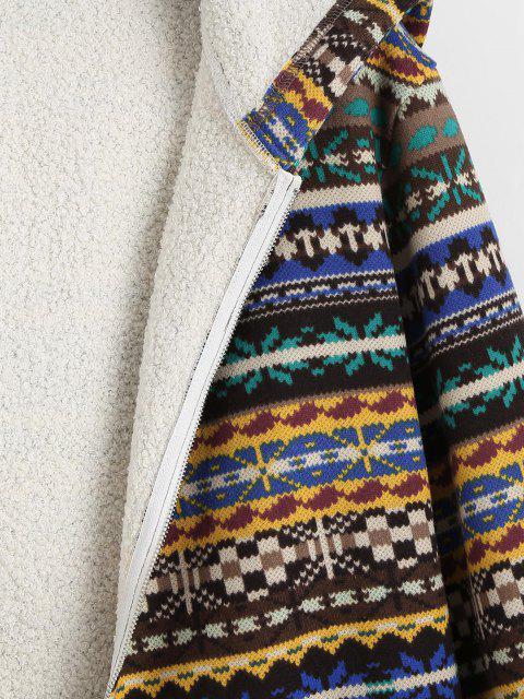 online ZAFUL Tribal Print Zip Up Fleece Lined Coat - DEEP COFFEE S Mobile
